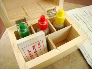 Gold Test Kit 10K - 14K - 18K Solutions - Test Stone & Instructions - Wooden Box