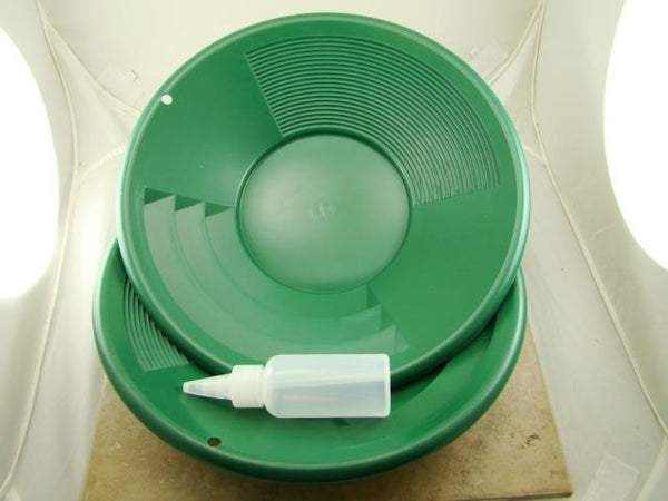 "Lot of 3-12"" Green Gold Pans w/ Bottle Snuffer-Panning Kit-Prospecting-Mining"