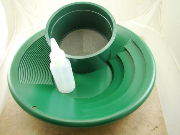 "12"" Green Gold Pan 5"" 40 Mesh Screen & Bottle Snuffer-Panning Kit-Prospecting"