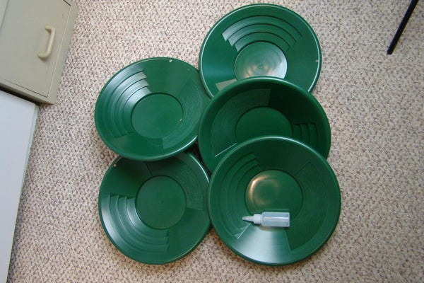 "Lot of 10-14"" Green Gold Pans + Bottle Snuffer - Mining-Panning Kit-Prospecting"