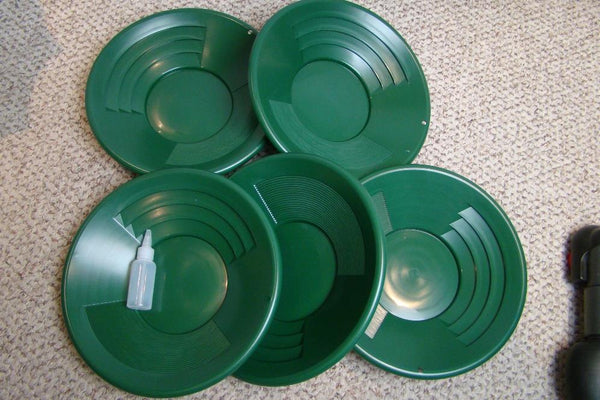 "Lot of 50-14"" Green Gold Pans + Bottle Snuffer - Mining-Panning Kit-Prospecting"