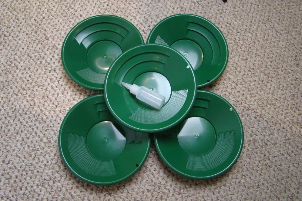 "Lot of 5- 10"" Green Gold Pans w/ Bottle Snuffer-Panning Kit-Mining BackPack"