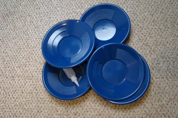 "Lot of 10 - 10"" Blue Gold Pans w/ Bottle Snuffer-Panning Kit-Mining BackPack"