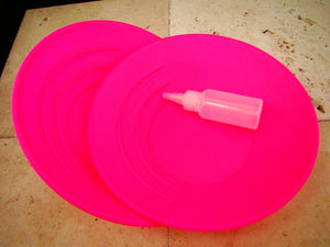 Lot of 2 Florescent Hot Pink Gold Pan-Prospecting-Mining-Sluice + Snuffer Bottle
