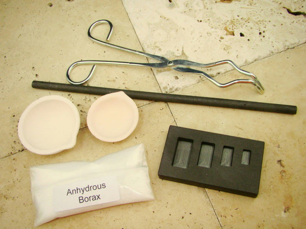 Gold Silver Melting Kit-1/4oz thru 2oz Mold-Stir Rod-Tong-Borax-2 Crucible Set