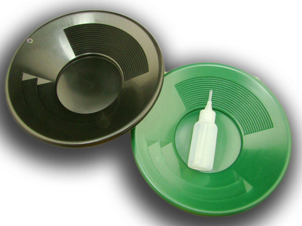 "Lot of 2- 10"" Black & Green Gold Pans w/ Bottle Snuffer-Panning Kit-Mining"