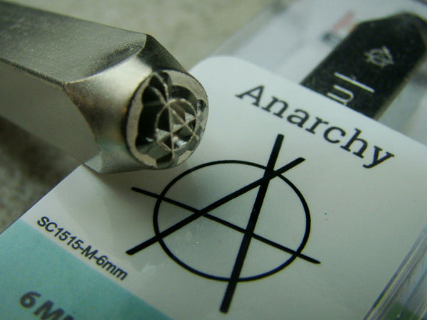"""Anarchy"" 1/4""-6mm-Large Stamp-Metal-Hardened Steel-Gold & Silver Bar Tattoo"