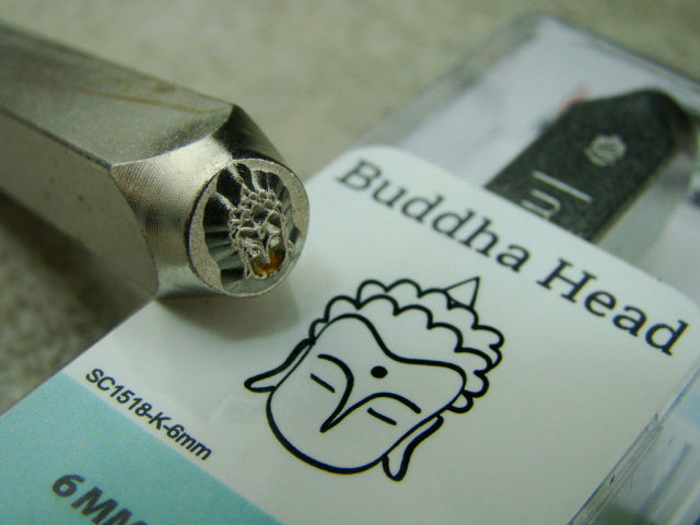 """Buddha Head"" 1/4""-6mm-Large Stamp-Metal-Hardened Steel-Gold & Silver Bar"