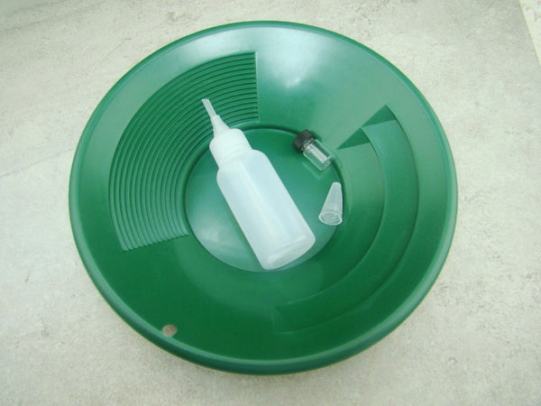"10"" Green Gold Pan - Panning Kit , Bottle Snuffer, & Vial - Mining Prospecting"