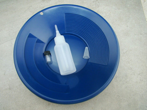 "10"" Blue Gold Pan - Panning Kit , Bottle Snuffer, & Vial - Mining Prospecting"