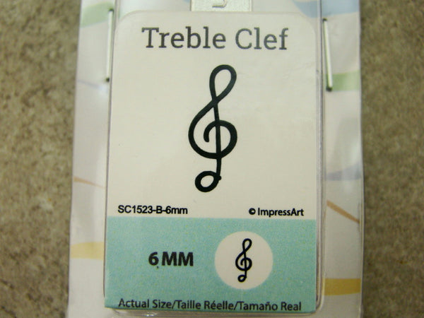 """Treble Clef"" Music 1/4""-6mm-Large Stamp-Metal-Hardened Steel-Gold & Silver Bar"