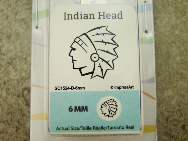 """Indian Head"" Native 1/4""-6mm-Large Stamp-Metal-Hardened Steel-Gold & Silver Bar"