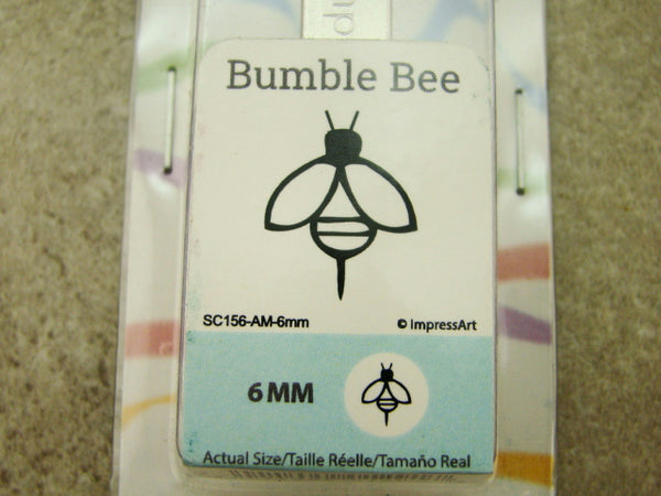 """Bumble Bee"" Bug 1/4""-6mm-Large Stamp-Metal-Hardened Steel-Gold & Silver Bar"