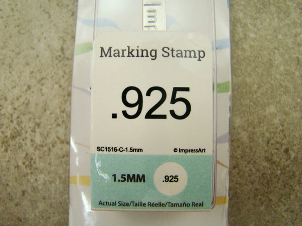 """.925"" Sterling Silver 1.5mm-Small Stamp-Metal-Hardened Steel-Silver Bar"