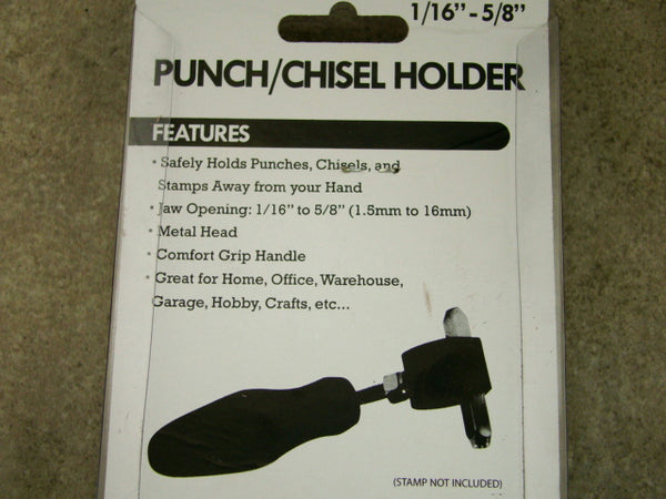 "Punch/Chisel Holder Holds 1/16""-5/8"" Diameter Tools, Metal Head, Stamps,"