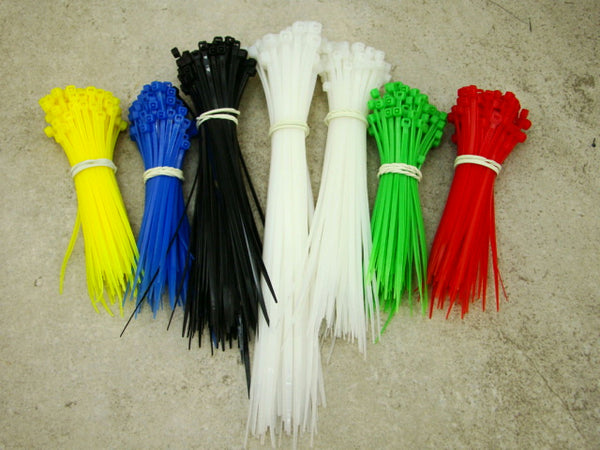 "Cable Zip Tie Set, 650 Pieces, 4""-6""-8"", White, Black, Red, Blue, Green"