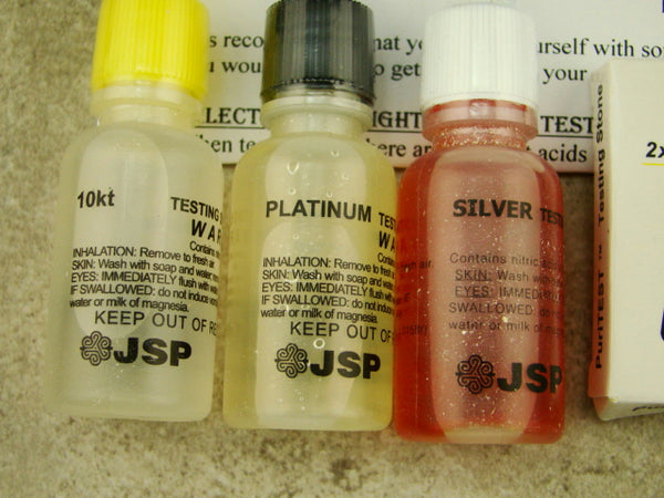 Gold Test 10K, Platinum, Silver Solution - Test Stone & Instructions, Purity