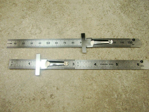 "Set of 2 Stainless Steel 6"" Rulers Measures Attached Clip"