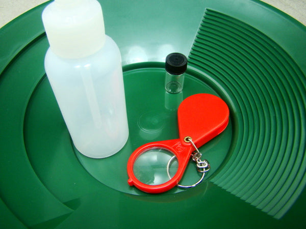 "10"" Green Gold Pan-Snuffer Bottle-Glass Vial-Magnifying Glass-Panning Kit Mining"