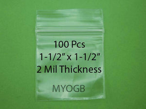 "100pcs 1-1/2"" x 1-1/2"" Zip Lock Plastic Bags-Storage-Jewerly-Parts-Gold Nuggets"