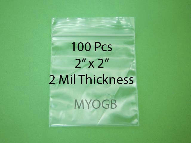 "100pcs 2"" x 2"" Zip Lock Plastic Bags-Storage-Jewerly-Parts-Gold Nuggets"