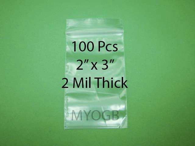 "100pcs 2"" x 3"" Zip Lock Plastic Bags-Storage-Jewerly-Parts-Gold Nuggets"
