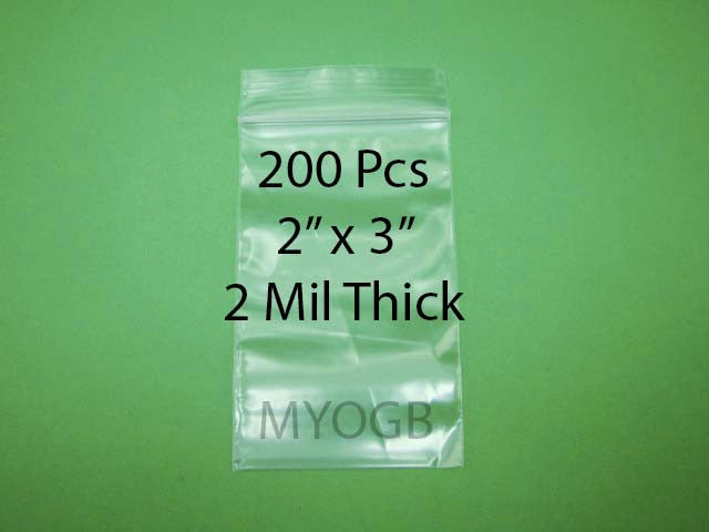 "200pcs 2"" x 3"" Zip Lock Plastic Bags-Storage-Jewerly-Parts-Gold Nuggets"