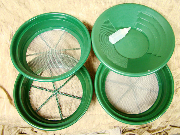 "3 Large Screens 1/4-1/12-1/30""Classifiers-Sifting +14"" Green Gold Pan & Snuffer"