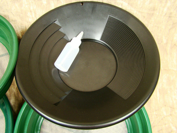 "3 Large Screens 1/20-1/30-1/50""Classifiers-Sifting +14"" Black Gold Pan & Snuffer"