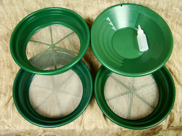 "3 Large Screens 1/8-1/20-1/50""Classifiers-Sifting +14"" Green Gold Pan & Snuffer"