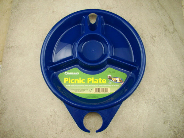 Set of 4 Blue Coghlan Plastic Picnic Plates and Drink Holders, Camping, BBQ