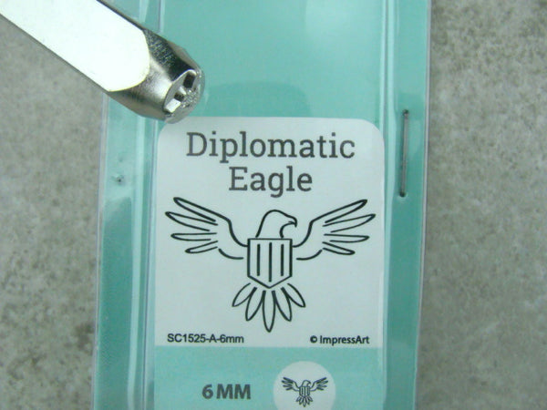 """Diplomatic Eagle"" 1/4""-6mm-Large Stamp-Metal-Hardened Steel-Gold & Silver Bar"