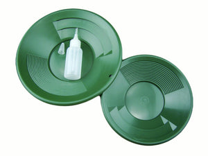 "Lot of 2 Green Double Riffle Gold Pans 1-8"" & 1-10"" w/Bottle Snuffer-Panning Kit Amazon"
