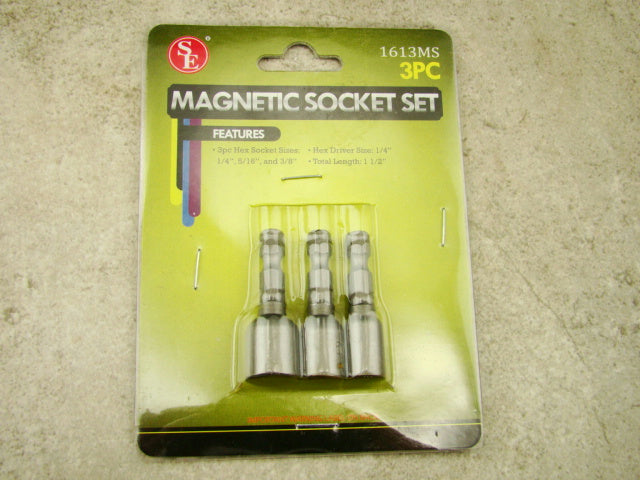 "Carbon Steel Magnetic 3 Piece Hex Socket Set, 1/4"", 5/16"", 3/8"", Tools, Office"