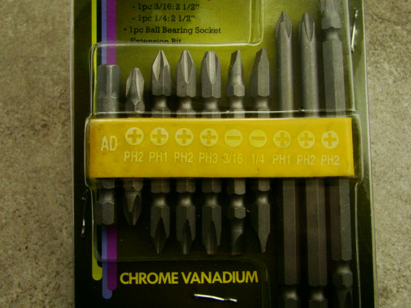 10 Pc Screwdriver Bits with Rubber Holder Set, Chrome Vanadium, Phillips, Tools