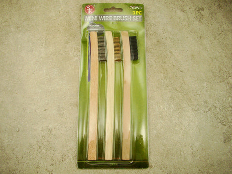 "3- 8"" Wooden Handle Wire Brush Set, Stainless Steel, Brass, Nylon, Prospecting"