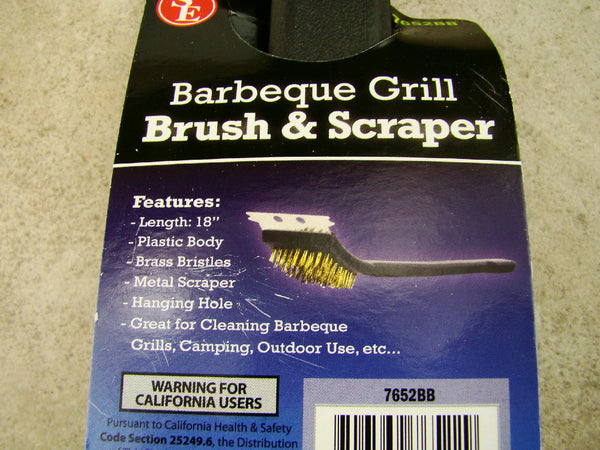 Barbeque Grill Brush & Scraper, Camping, Outdoors, BBQ Heavy Duty, Brass