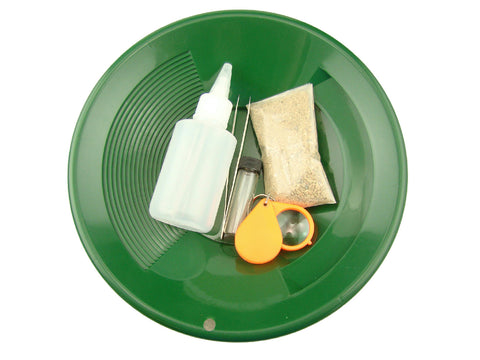 """Gold Rush Mining Kit"" Real PayDirt-Green Gold Pan-Vial-Snuffer-Tweezers-Loupe"