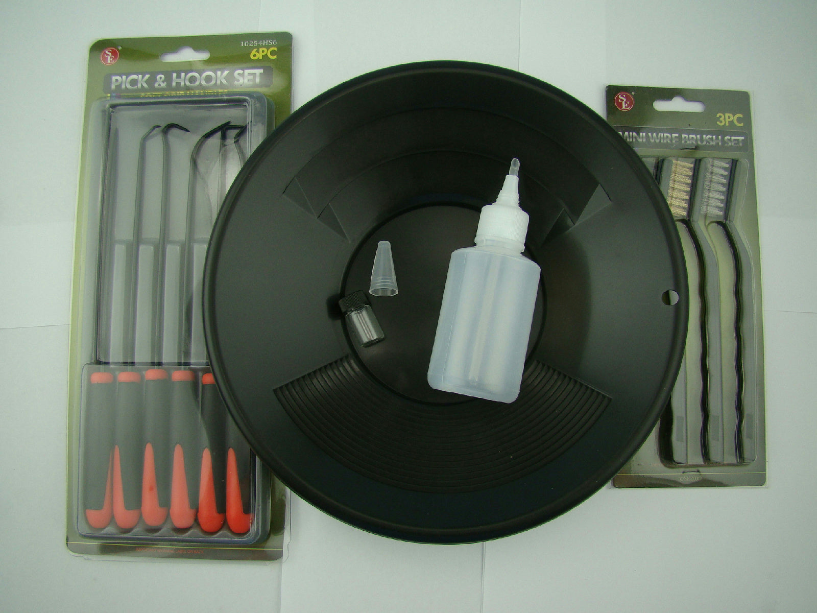 "12pc Crevice Mining Kit-10"" Black Gold Pan-6 Picks-3 Brushes-Free Snuffer &Vial"