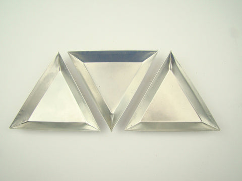 Set of 3 Triangular Aluminum Gold Trays-Boats-Beads Fill vials & Weigh