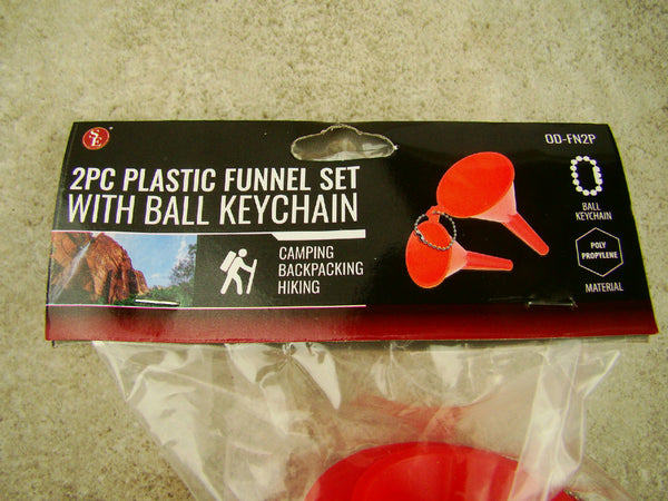2Pc Plastic Funnel Set With Ball Keychain, Camping, Prospecting, Mining, Hiking