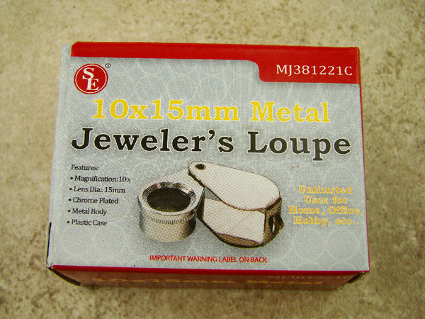 Jewlers 10X Metal Loupe Silver Metal Body Glass Lens 10X15MM