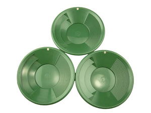 "Lot of 3 Green 8"" Gold Pans - Panning-Mining-Prospecting"