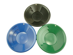 "Lot of 3 - 8"" Gold Pans-Green-Blue-Black - Panning-Mining-Prospecting"