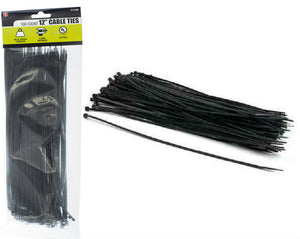 "100 Pc 12"" x 3.6MM Black Cable Ties in a Bag, UL Approved"