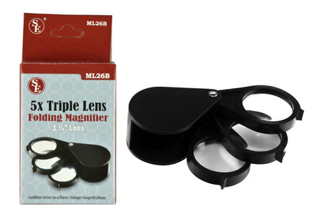 "15x (5x, 5x, 5x) 1-1/4"" Triple Lens Folding Pocket Magnifier, Loupe, Nugget"
