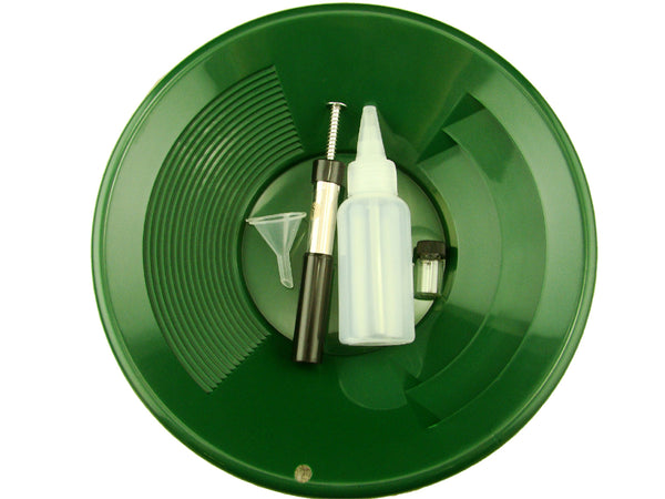 "1- 10"" Green Gold Pan - 5"" Snuffer Bottle - Magnet Tool - Funnel & 1"" Vial"