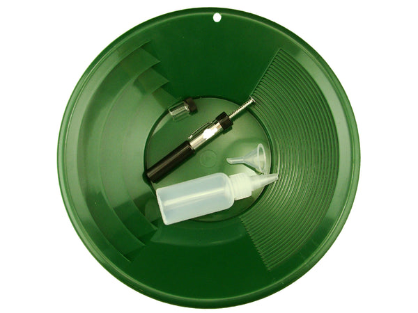 "1- 12"" Green Gold Pan - 5"" Snuffer Bottle - Magnet Tool - Funnel & 1"" Vial"