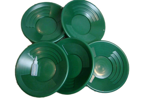 "Lot of 5-14"" Green Gold Pans + Bottle Snuffer - Mining-Panning Kit-Prospecting"