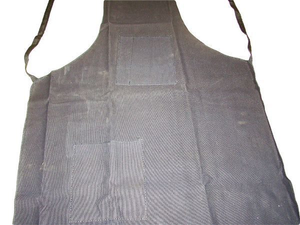 "Black Cotton Canvas Apron 25"" X 34"" - 2 Pockets - Woodworking, Garage, Shop"